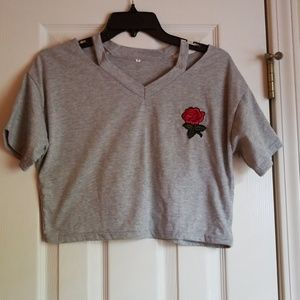 Marl Gray Rose Applique Cropped Top